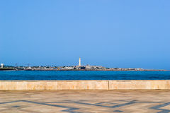Casablanca maritime lighthouse and shore seen from Hassan II mosque terace stock image
