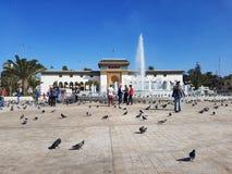 Casablanca Marocko, 02 Oktober 2017, slott av rättvisa på den Mohammed V fyrkanten Fotografering för Bildbyråer