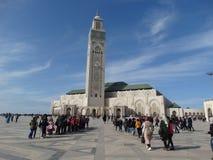 Casablanca, Marokko Moschee Hassan II errichtend lizenzfreie stockfotos