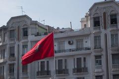 Casablanca, Marokko - Oktober 29, 2017: Marokkaanse rode vlag en o Royalty-vrije Stock Foto