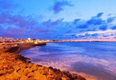 Casablanca, Morocco. Coastline of Casablanca during sunset in Morocco, Africa stock photography