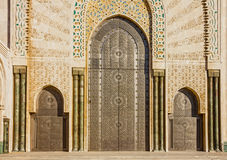 Casablanca in Morocco. entrance door of mosque Hassan II Royalty Free Stock Image