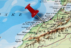 Casablanca in Morocco. Map with pin point of Casablanca in Morocco stock image