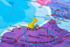 Casablanca Morocco map. Casablanca in Morocco pinned on colorful political map of Africa. Geopolitical school atlas. Tilt shift effect royalty free stock photos