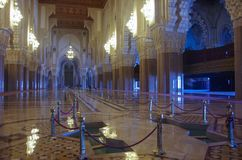 Arabic arches and ornaments in the interior of the Hassan II mos royalty free stock photo