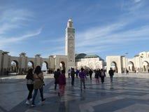 casablanca morocco Moské Hassan II som bygger Royaltyfri Foto
