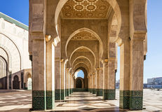 Casablanca in Morocco. Mosque Hassan II arcade gallery. Royalty Free Stock Photos