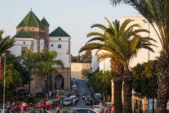 View of historic buildings in Habous. Casablanca, Morocco - November 1, 2017 : view of historic buildings in Habous royalty free stock photography