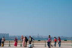 Casablanca, Morocco - October 29, 2017 : view of tourists walkin Stock Photography