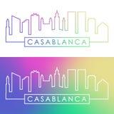 Casablanca skyline. Colorful linear style. Royalty Free Stock Photo