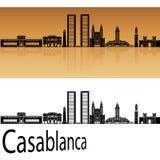 Casablanca skyline in orange Royalty Free Stock Images