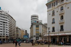 Casablanca United Nations Square 2. Casablanca United Nations Square, the central square of the city, always busy royalty free stock image