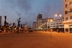 Casablanca United Nations Square 5. Casablanca United Nations Square, the central square of the city, always busy. Night view with full illumination stock photography