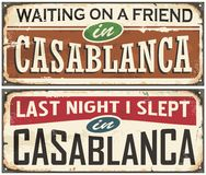 Free Casablanca Vintage Tin Signs Royalty Free Stock Images - 82005179