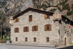 Casade-la Valle i huvudstaden av Andorra Arkivbilder