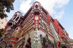 Casaen Vicens är en modernistisk byggnad i Barcelona, Catalonia, Spanien royaltyfria bilder