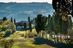 Casaglia, Πίζα, Ιταλία - 16 Νοεμβρίου 2017: Διαδρομή οδοιπορίας σε Casaglia, δήμος Montecatini Val Di Cecina Στοκ Εικόνες