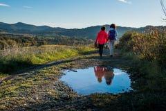 Casaglia, Pisa, Italy - 16 november, 2017: Trekking route in Casaglia, Municipality of Montecatini Val di Cecina stock photography