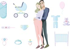 Casal de sorriso novo que espera uma criança cercada por brinquedos e por artigos da materialidade e da paternidade futuras carát ilustração royalty free