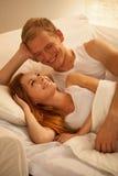 Casal feliz de sorriso fotografia de stock