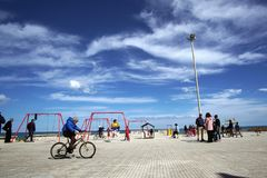 Casalabate,apulia,italy-03-18-2018 First Sunday of spring outdoor. Casalabate,apulia,italy-03-18-2018First Sunday of spring outdoor at the playground Stock Image