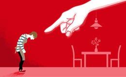 Casalinga che è indicata dalla violenza domestica a mano enorme co illustrazione di stock