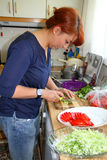 Casalinga che produce insalata immagine stock