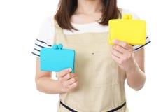 Casalinga con le borse fotografie stock libere da diritti