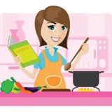 Casalinga del fumetto che cucina nella cucina Fotografie Stock