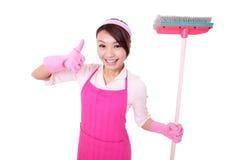 Casalinga felice della donna di pulizia Fotografia Stock Libera da Diritti