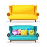 Casalingo delicatamente variopinto del sofà, insieme 3 Fotografia Stock Libera da Diritti