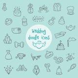 Casamento - ícones da garatuja Imagens de Stock