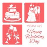 Casamento ajustado do vetor quatro ícones o bolo de casamento, noivos, vidros do champanhe Fotos de Stock Royalty Free