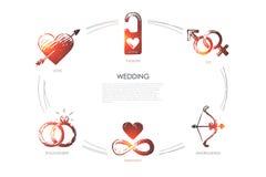 Casamento - amor, sexo, acoplamento, harmonia, amorousness, grupo do conceito da paixão ilustração do vetor