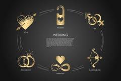 Casamento - amor, sexo, acoplamento, harmonia, amorousness, grupo do conceito da paixão ilustração stock
