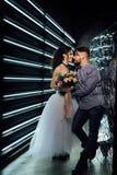 Casamento ao estilo da rocha Casamento do balancim ou do motociclista Fotos de Stock Royalty Free