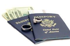Casamento do destino dos passaportes dos EUA Imagem de Stock