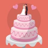 casamento doce das bonecas dos pares do bolo ilustração stock