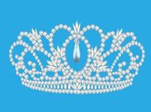 Casamento feminino do diadema bonito sobre nós giramos o fundo azul Fotos de Stock Royalty Free