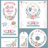 Casamento, grupo de cartões nupcial do convite do chuveiro com decoração floral ilustração do vetor