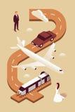 Casamento, ilustração isométrica do vetor, grupo do ícone 3d, fundo marrom, convite: homem, carro, plano, trem, mulher, estrada Fotografia de Stock