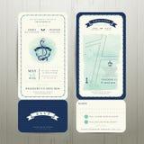 Casamento no tema náutico do watercolour da praia com grupo de cartão do rsvp Imagem de Stock Royalty Free