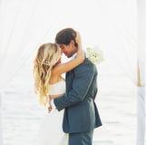 Casamento, noivos Just Married no amor fotografia de stock