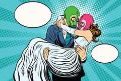 Casamento radioativo do apocalipse os noivos ilustração stock