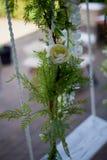 Casandose el oscilación adornado con las flores que cuelgan en las ramas del sauce Foto de archivo libre de regalías