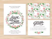 Casandose el sistema con las flores de la acuarela y las letras dibujadas mano Foto de archivo libre de regalías