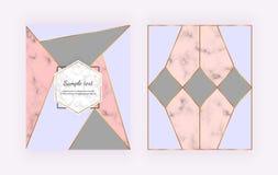 Casandose fondos con el diseño de mármol, geométrico, líneas de oro, triangular rosado, gris, azul formado Cubierta para la invit libre illustration