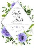 Casandose invite, invitación, ahorran el diseño de tarjeta de fecha: flor violeta de la amapola de la anémona de la lavanda, hoja stock de ilustración