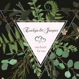 Casandose la invitación floral cuadrada, invite a la tarjeta Helecho del bosque del verde del sistema de la acuarela del vector,  ilustración del vector