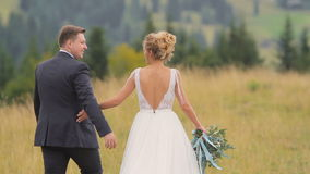 Casandose pares camina en montañas almacen de video